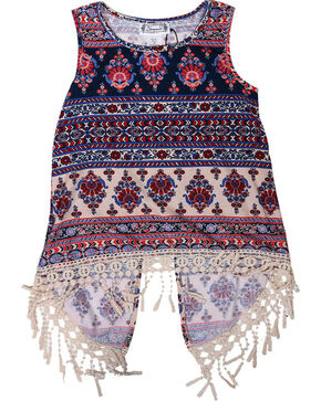 Shyanne® Girls' Fringe Open Back Tank Top , Navy, hi-res