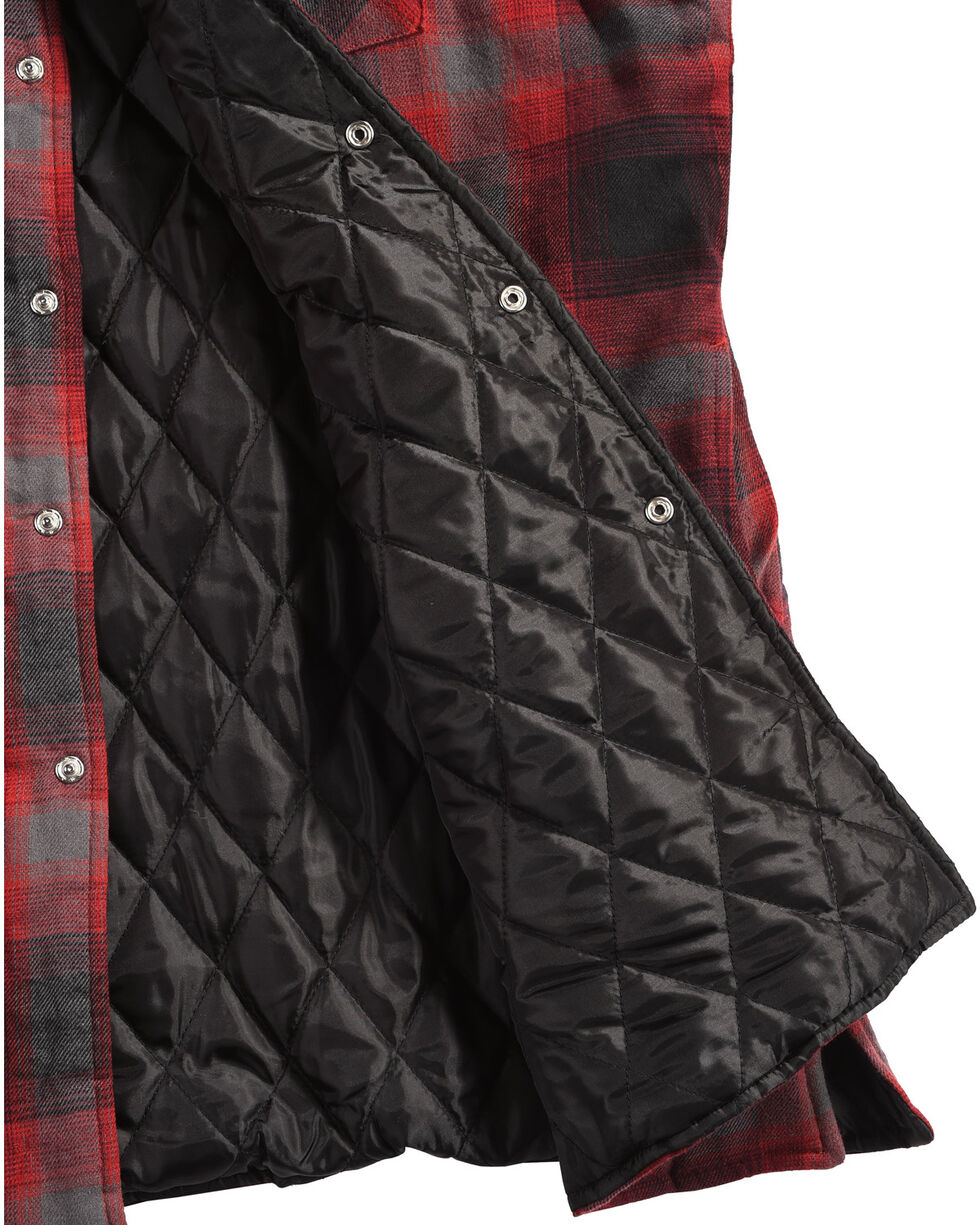 Ely Cattleman Men's Red Quilted Flannel Jacket , Red, hi-res