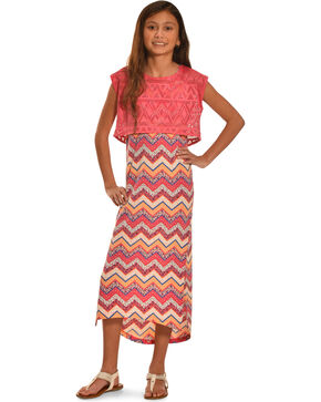 Derek Heart Girls' Aztec Printed Hi Lo Tank Dress, Coral, hi-res