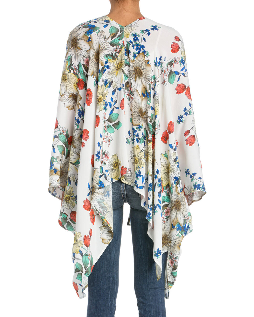 Miss Me Women's Garden Variety Floral Cardigan, White, hi-res
