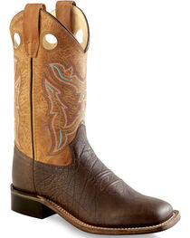 Old West Boys' Brown Cowboy Boots - Square Toe , , hi-res