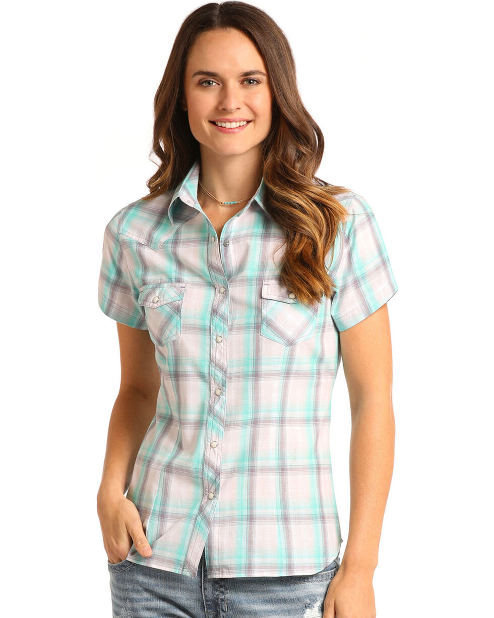 Panhandle Women's Teal/White Plaid Short Sleeve Shirt, Teal, hi-res