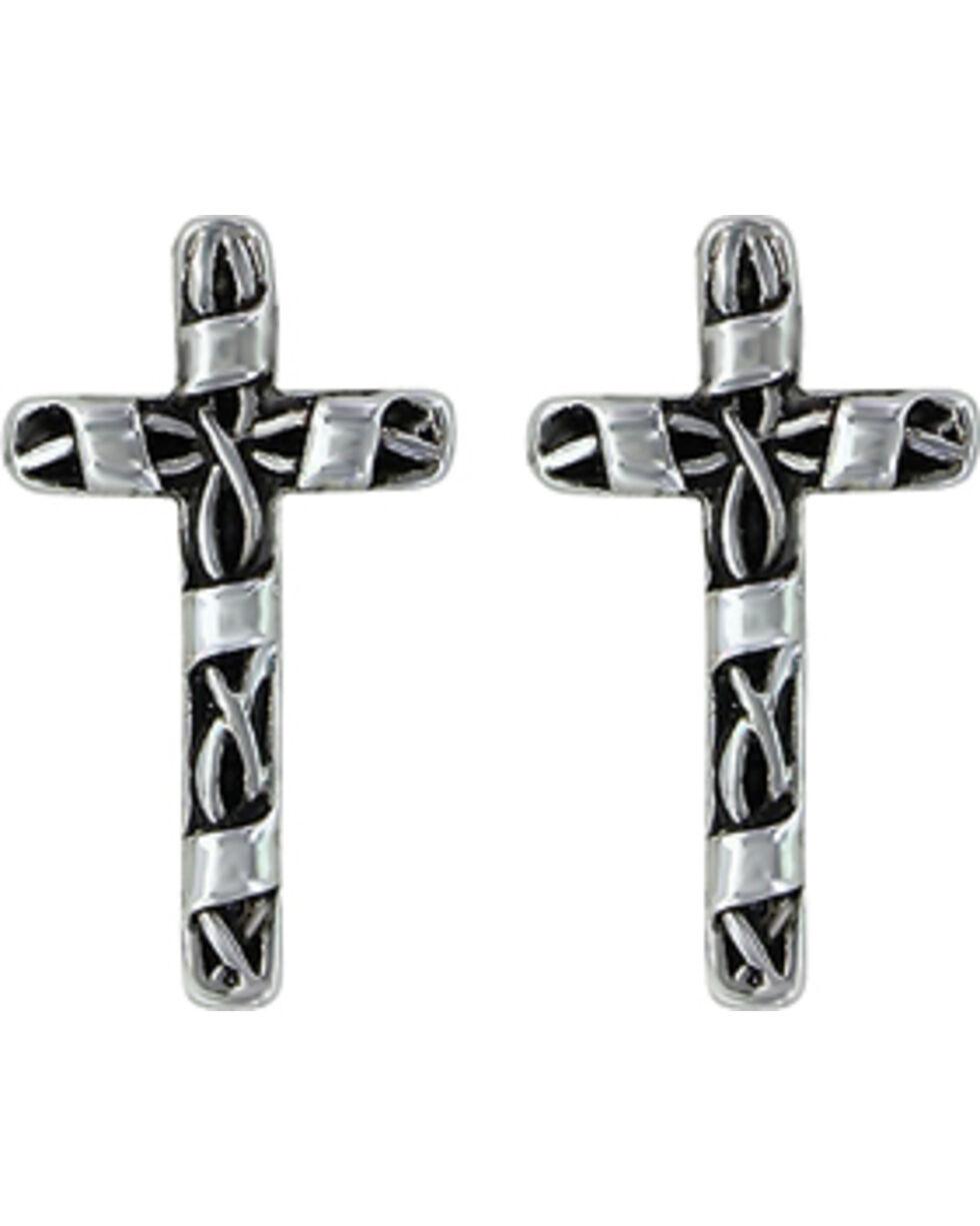 Montana Silversmiths Women's Macrame Cross Earrings , Silver, hi-res
