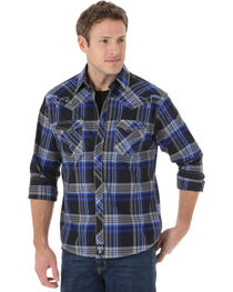 Rock 47 by Wrangler Men's Edgy Plaid Long Sleeve Snap Shirt, , hi-res