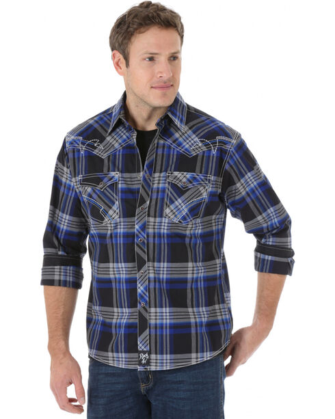 Rock 47 by Wrangler Men's Edgy Plaid Long Sleeve Snap Shirt, Blue, hi-res