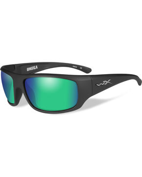 Wiley X Gravity Polarized Emerald Mirror Matte Black Sunglasses , Black, hi-res