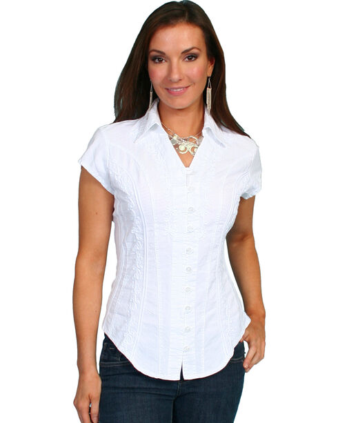 Scully Women's Cap Sleeve Cantina Shirt, White, hi-res