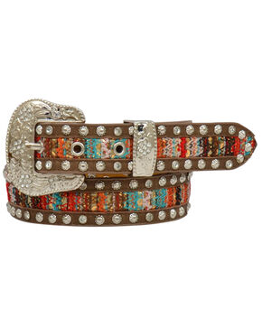 Angel Ranch Women's Brown Serape Studded Belt , Brown, hi-res