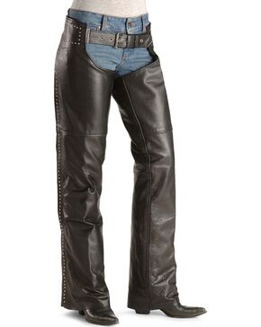 Milwaukee Women's Studded Leather Motorcycle Chaps, Black, hi-res