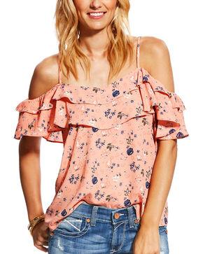 Ariat Women's Blush Vanessa Floral Cold Shoulder Top, Blush, hi-res