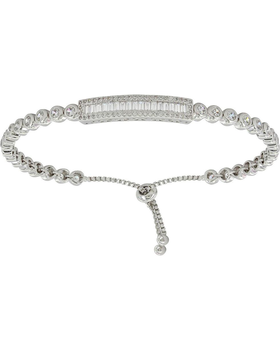 Montana Silversmiths Women's Silver Baguette Lariat Bracelet , Silver, hi-res