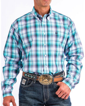 Cinch Men's Multi Plaid Long Sleeve Button Down Shirt, Multi, hi-res