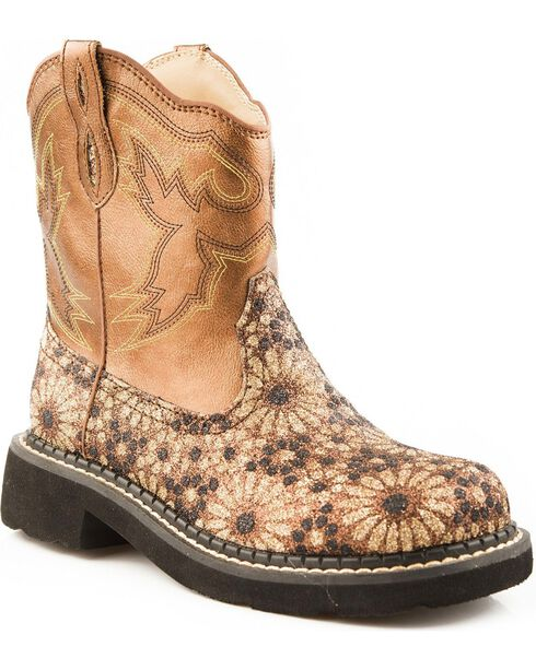 Roper Kid's Chunk Riderlite 2 Western Boots, Gold, hi-res