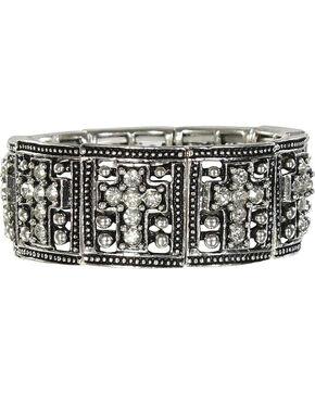 Shyanne® Women's Rhinestone Cross Bracelet, Silver, hi-res