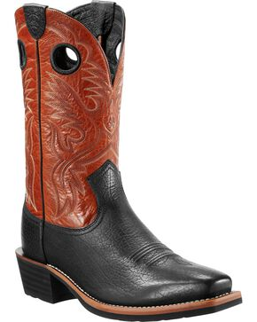 Ariat Men's Heritage Roughstock Western Boots, Black, hi-res