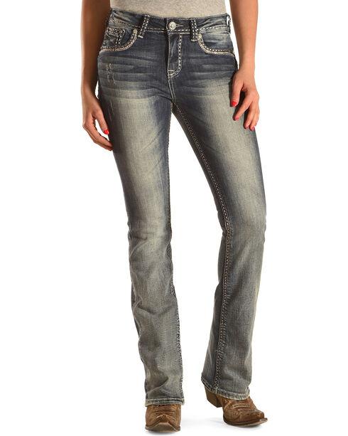 Grace in LA Women's Medium Wash Abstract Jeans - Bootcut , Indigo, hi-res