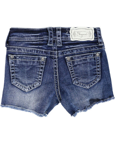 Shyanne® Girl's Paisley Acid Wash Denim Shorts, Blue, hi-res