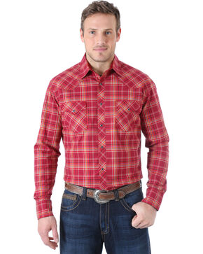 Wrangler 20X Men's Plaid Western Long Sleeve Shirt, Burgandy Plaid, hi-res