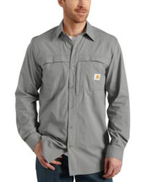 Carhartt Force Mandan Solid Long Sleeve Shirt, Grey, hi-res