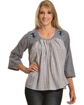 New Direction Sport Women's Embroidered Flare Sleeve Top, Blue, hi-res