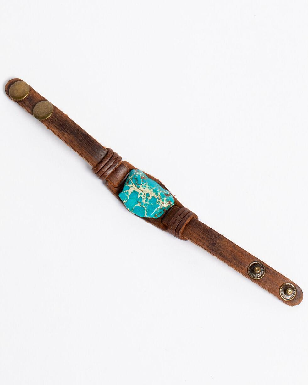 Jewelry Junkie Women's Regalite Chunk Cuff Bracelet , Turquoise, hi-res
