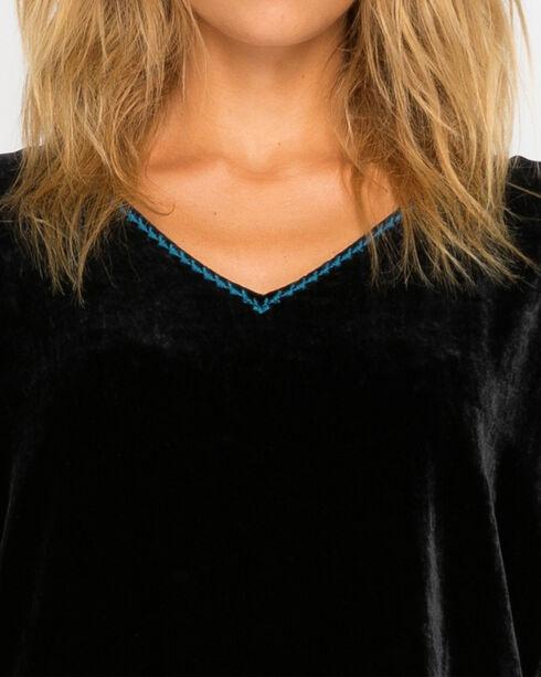 Johnny Was Women's Black Yucatan Embroidered Back Velvet Tunic , Black, hi-res