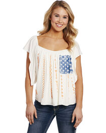 Cowgirl Up Women's American Flag Blouse , , hi-res