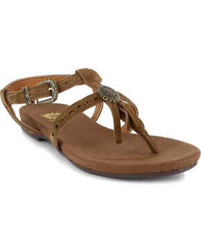 Yellow Box Women's Carob Fringe Sandals, Chestnut, hi-res