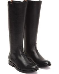 Frye Women's Black Melissa Stud Back Zip Boots - Round Toe , , hi-res