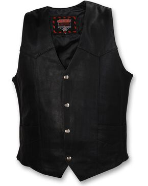 Interstate Leather Motorcycle Vest, Black, hi-res
