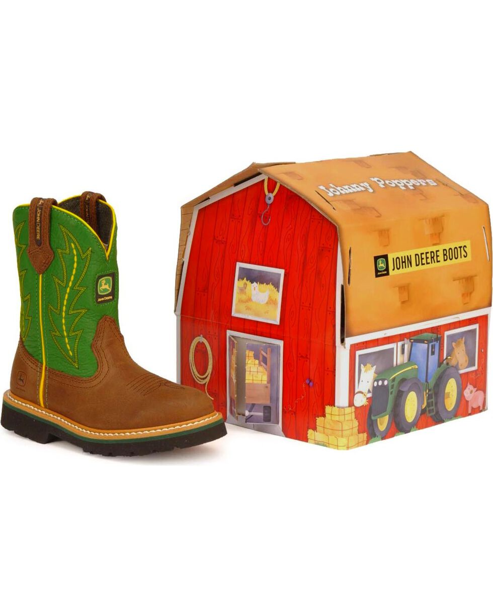 John Deere Infants' Pull-On Western Boots, Green, hi-res