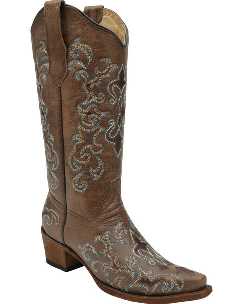 Circle G by Corral Women's Fleur de Lis Snip Toe Western Boots, Brown, hi-res