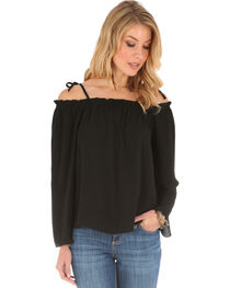 Wrangler Women's Strap Shoulder Peasant Top, Black, hi-res