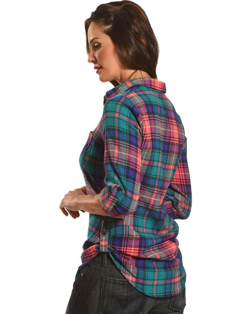 Golden Touch Women's Fergies Plaid Flannel Shirt , Green, hi-res