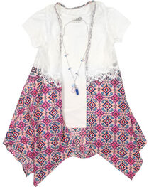 Self Esteem Girls' Top and Pattern Vest with Necklace , , hi-res