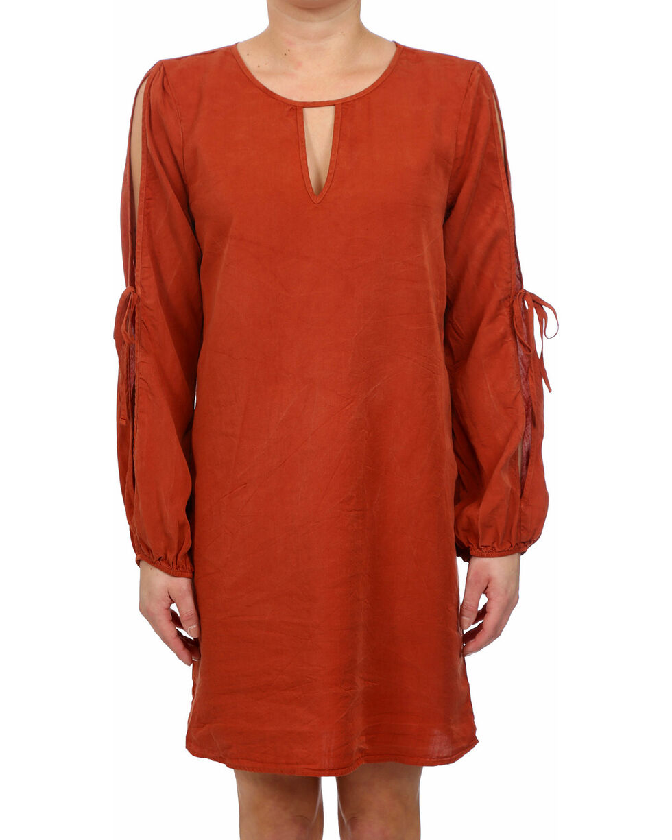 Glam Women's Rust Safari Bow Tie Dress , Rust Copper, hi-res