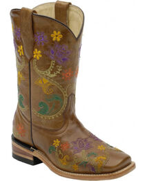 Corral Girls' Colorful Floral Embroidered Western Boots, , hi-res