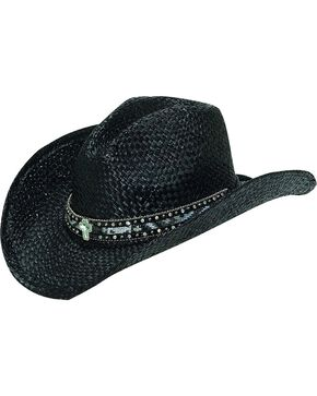 M & F Western Black Raffia with Ribbon Inlay Cowgirl Hat, Black, hi-res