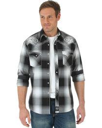 Wrangler Men's Rock 47 Embroidered Plaid Long Sleeve Shirt, , hi-res