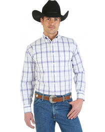 Wrangler George Strait Collection Purple and White Plaid Western Shirt, , hi-res