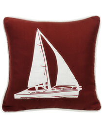 HiEnd Accents Red Sailboat Embroidery Pillow, , hi-res