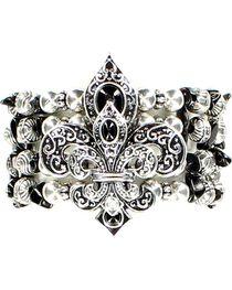 Blazin Roxx Beaded Fleur-de-lis Stretch Bracelet, , hi-res