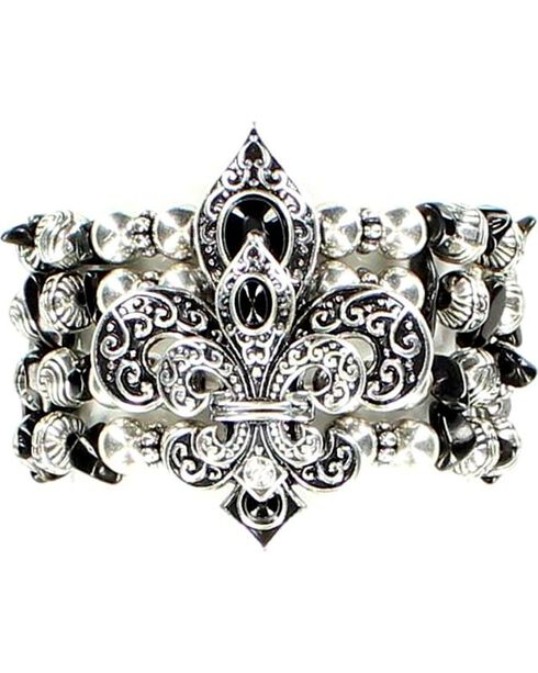 Blazin Roxx Beaded Fleur-de-lis Stretch Bracelet, Black, hi-res