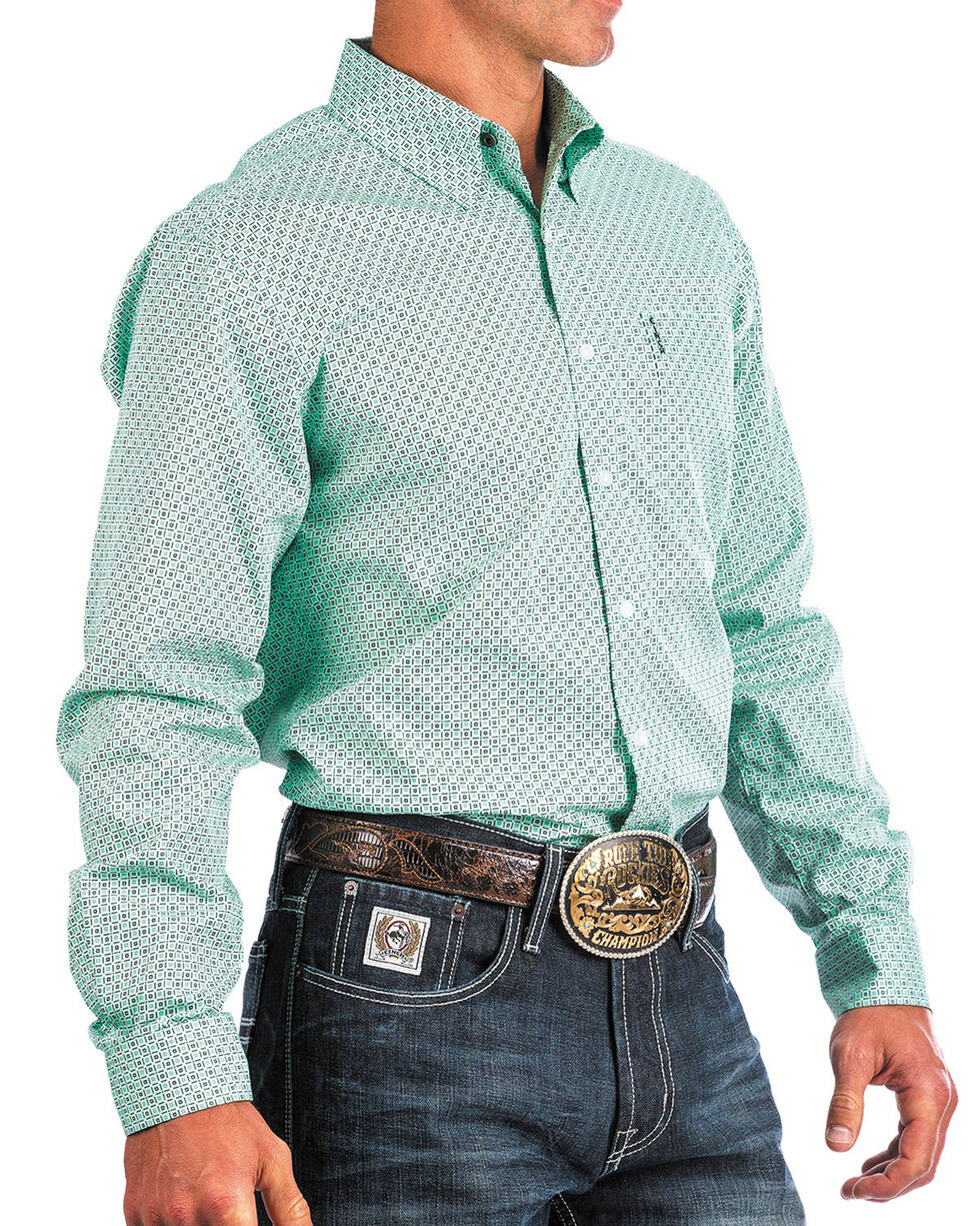 Cinch Men's Modern Fit Turquoise Print Long Sleeve Button Down Shirt , Turquoise, hi-res
