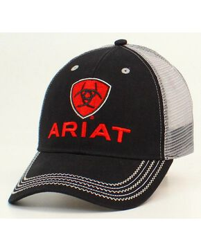 Ariat Men's Embroidered Logo Ball Cap, Black, hi-res