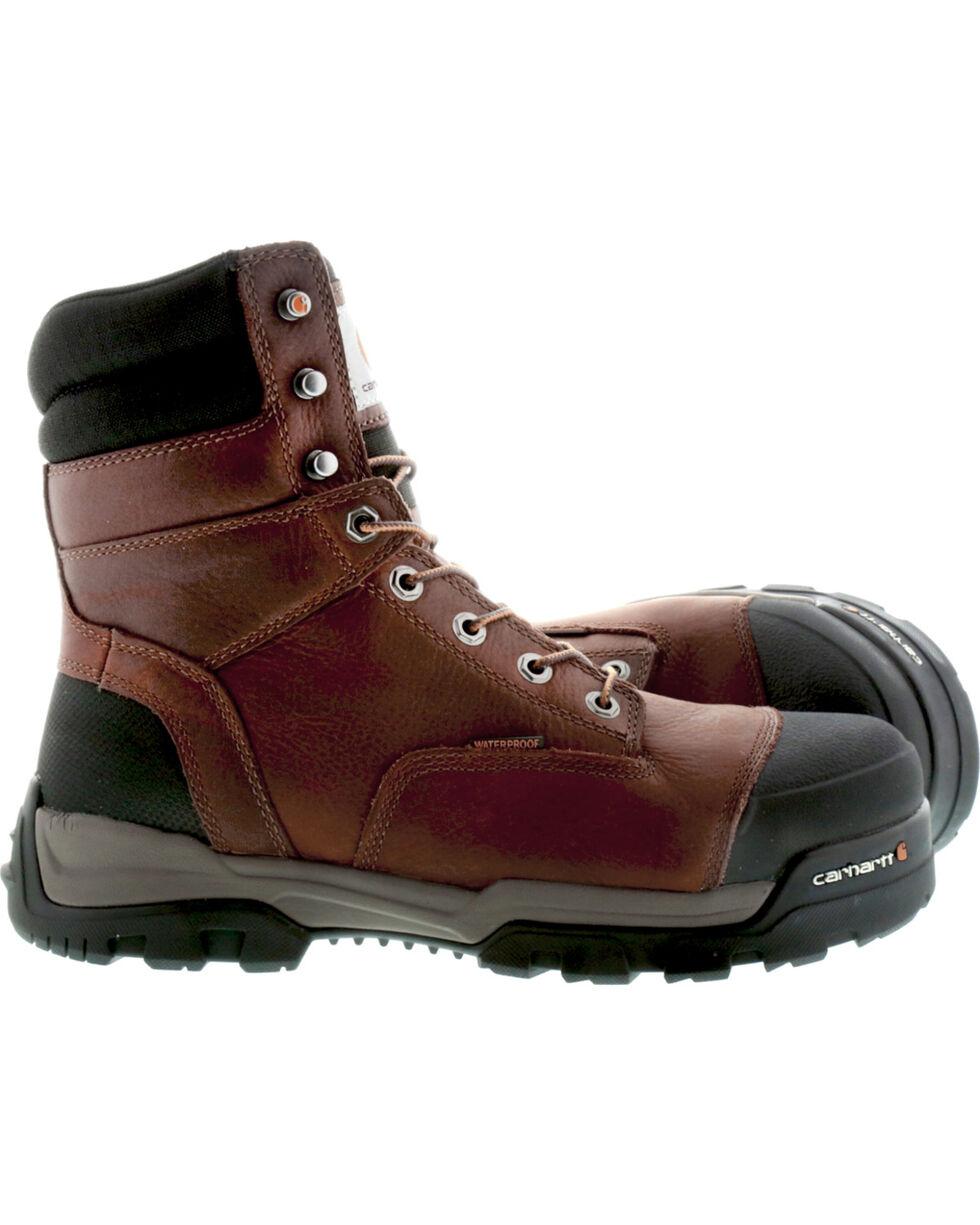 """Carhartt Men's 8"""" Ground Force Waterproof Work Boots - Comp Toe, Brown, hi-res"""