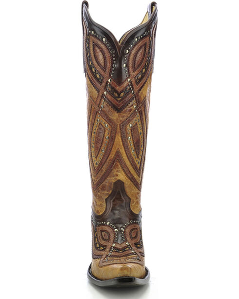 Corral Women's Studded Snip Toe Western Boots, Antique Saddle, hi-res