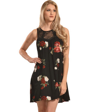 Others Follow Women's Floral Lace Sleeveless Dress, Burgundy, hi-res