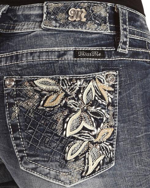 Miss Me Women's Blue Floral Embroidered Pocket Jeans - Boot Cut , Blue, hi-res