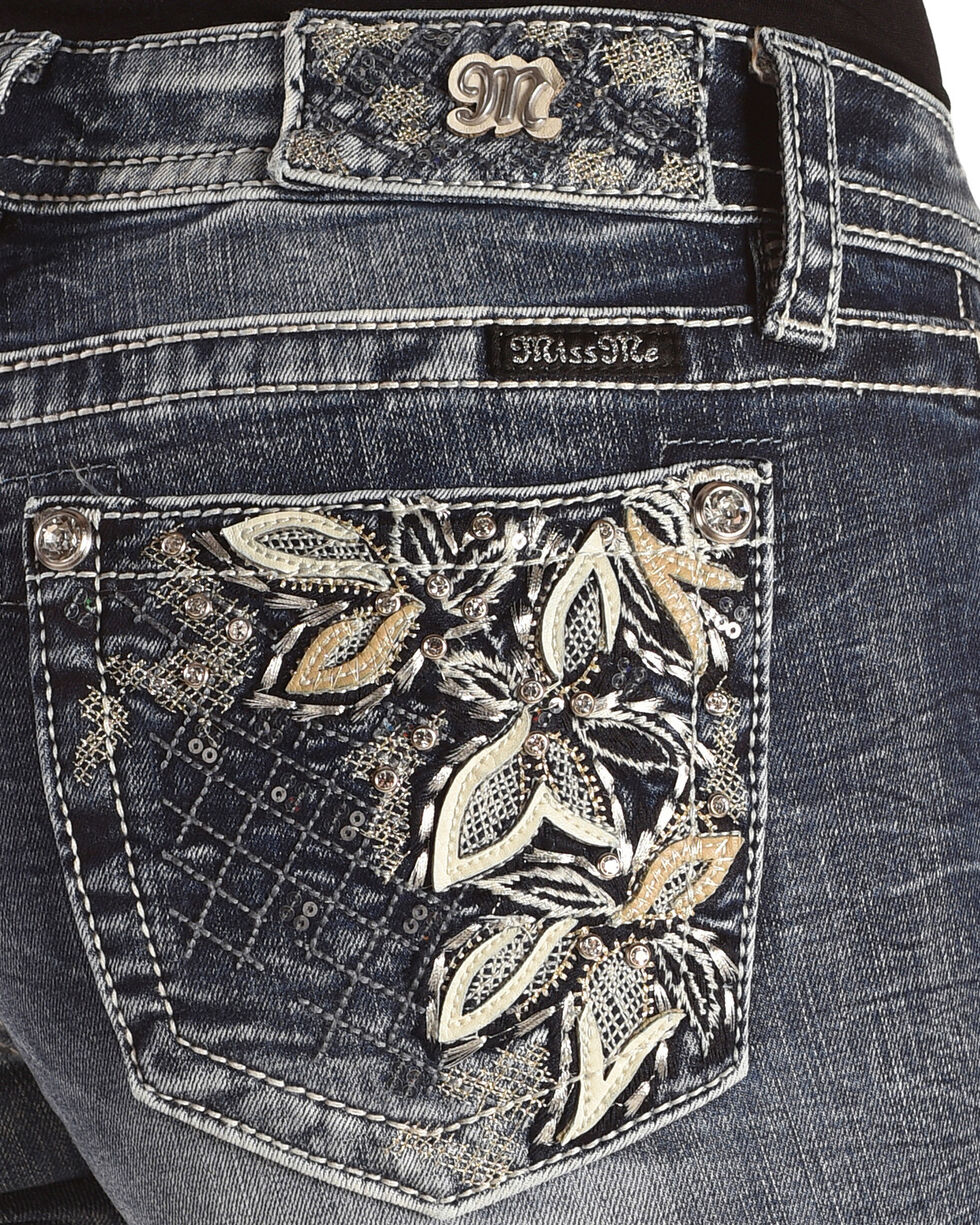 """Miss Me Women's Floral Embroidered Boot Cut Jeans - 32"""" Inseam, , hi-res"""